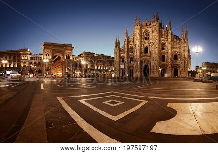 Galleria Vittorio Emanuele II at Cathedral Square or Piazza del Duomo in Italian is the center of Milan city in Italy.