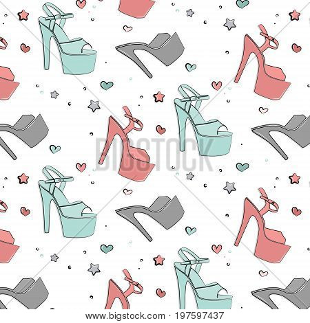 Vector Patel shoes for pole dance. Pole exotic hight heels background. Hot dance night life stripper shoes texture. Cute sport accessories silhouette illustration . Strip dancer beautiful heels