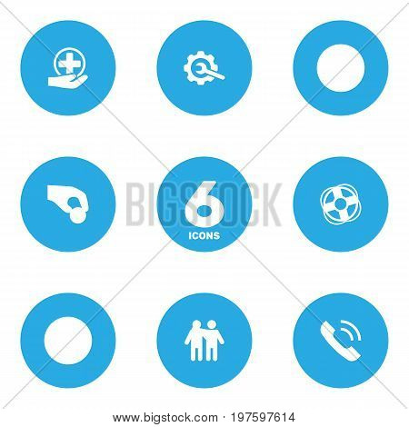 Collection Of Friendship, Call, First-Aid And Other Elements.  Set Of 6 Support Icons Set.