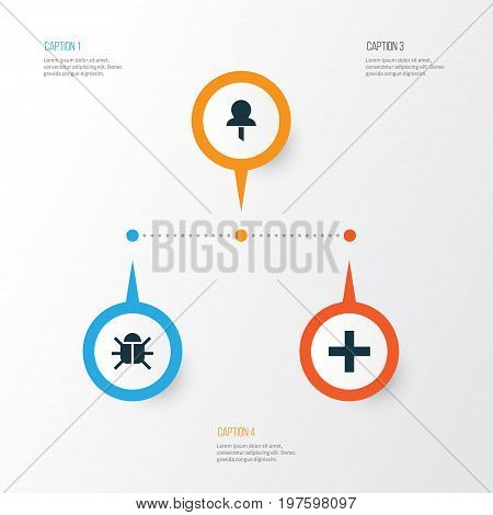 Interface Icons Set. Collection Of Pushpin, Plus, Virus And Other Elements