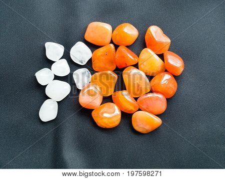 Tumbled Milky Quartz And Carnelian Stones For Crystal Therapy Treatments And Reiki
