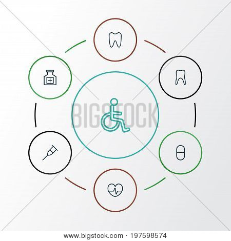 Antibiotic Outline Icons Set. Collection Of Disabled Person, Pills, Claw And Other Elements