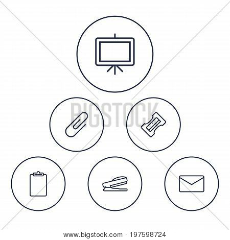 Collection Of Sharpener, Staple, Mail And Other Elements.  Set Of 6 Stationery Outline Icons Set.