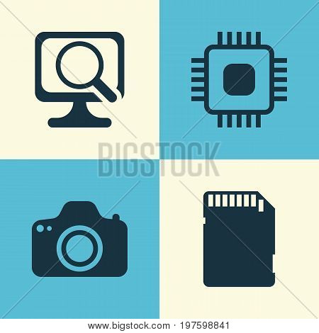 Computer Icons Set. Collection Of Chip, Memory Card, Camera And Other Elements