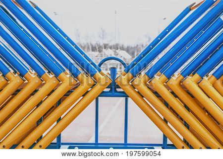 The track and field barriers obstacles. abstract representation of the struggle of colors and shapes.