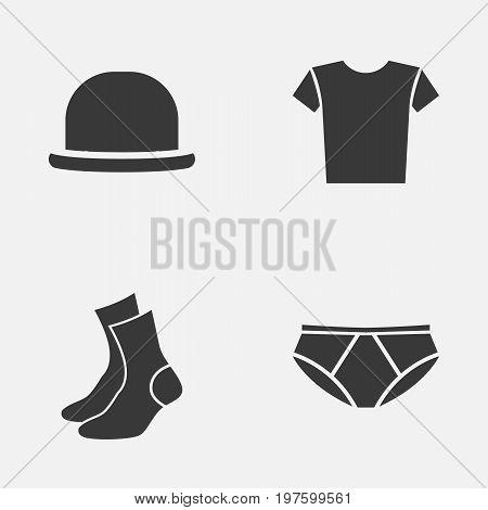 Dress Icons Set. Collection Of Half-Hose, Panama, Briefs And Other Elements