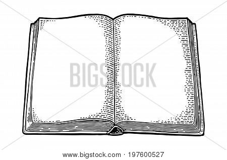 Open book isolated on white background. Vector black vintage engraving illustration. Hand draw in a graphic style.