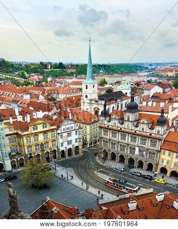 Prague, Czech Republic - April 18, 2017: Lesser Town Square In Chezh Capital City With Characteristi