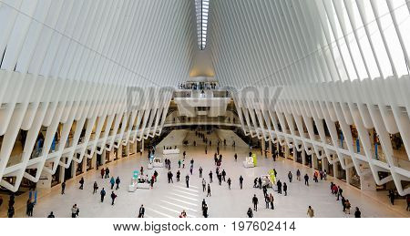 New York, Usa - May 8, 2017: World Trade Center Transportation Hub Interior With People Walking Towa