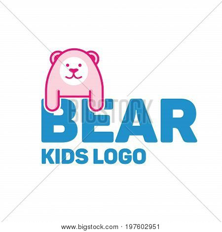 Bear logo for kid and children stores and products. vector logo design template in flat cartoon style
