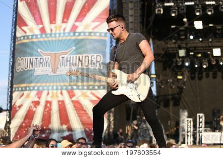 TWIN LAKES, WI - JUL 20: Chase Bryant performs during 2017 Country Thunder Music Festival on July 20, 2017 in Twin Lakes, Wisconsin.
