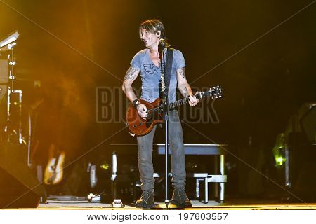 TWIN LAKES, WI - JUL 21: Keith Urban performs during 2017 Country Thunder Music Festival on July 21 2017 in Twin Lakes, Wisconsin.