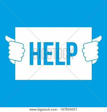 Help icon white isolated on blue background vector illustration