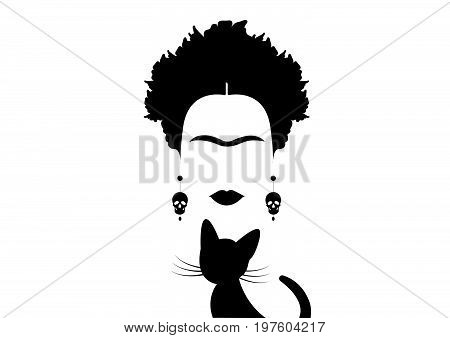 Frida Kahlo and black cat , portrait of Mexican woman minimalist silhouette with skulls , vector isolated