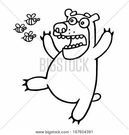Cartoon bear was afraid of angry bees. Vector illustration. Funny cute scared and screaming character.