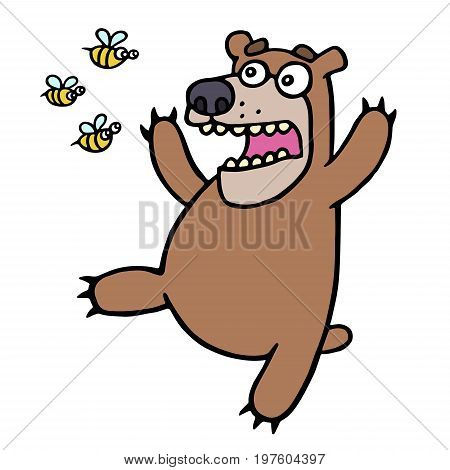 Cute bear in panic. Angry bees. Vector illustration. Funny screaming amazed cartoon character. Fright and fear.