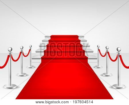 Realistic vector red event carpet, silver barriers and white stairs isolated on white background. Design template, clipart. EPS10. illustration.