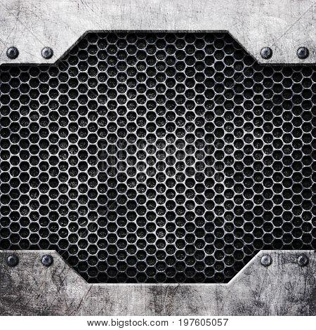 Metal Mesh Reinforced Plates And Rivets, Background, 3D, Illustration