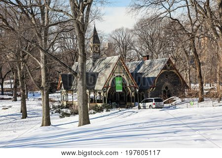NEW YORK - FEBRUARY 18:  Visitor center building in Central Park in New York City , USA on February 18, 2015
