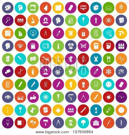 100 paint icons set in different colors circle isolated vector illustration
