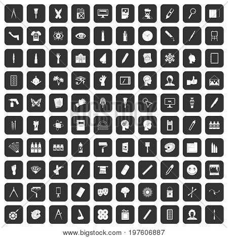100 paint icons set in black color isolated vector illustration