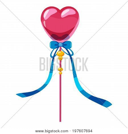 Heart wand icon. cartoon illustration of heart wand vector icon for web