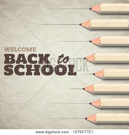Back to school background. 3D Pencils on wrinkled paper. Vector illustration.