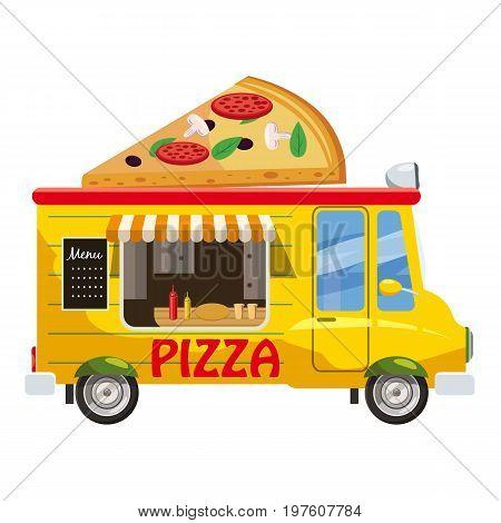 Pizza van mobile snack icon. cartoon illustration of pizza van mobile snack vector icon for web