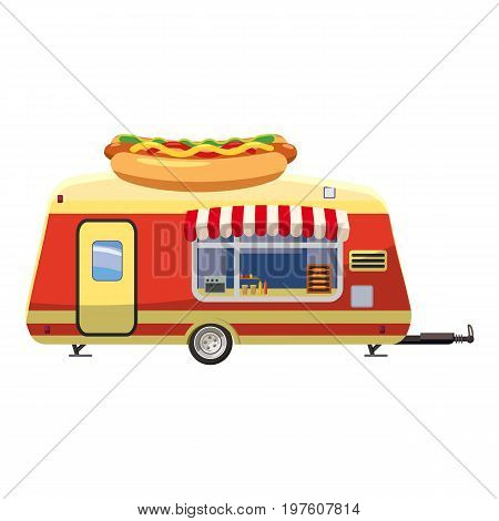Hot dog trailer mobile snack icon. cartoon illustration of hot dog trailer mobile snack vector icon for web