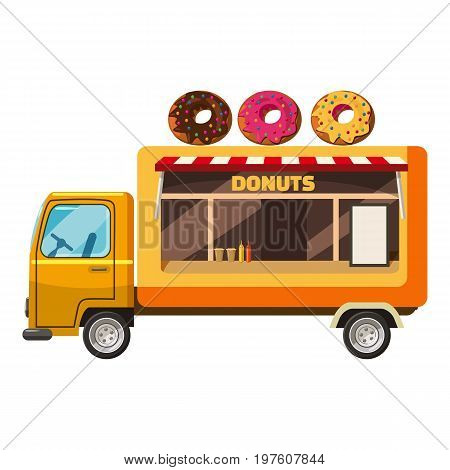 Donut truck mobile snack icon. cartoon illustration of donut truck mobile snack vector icon for web