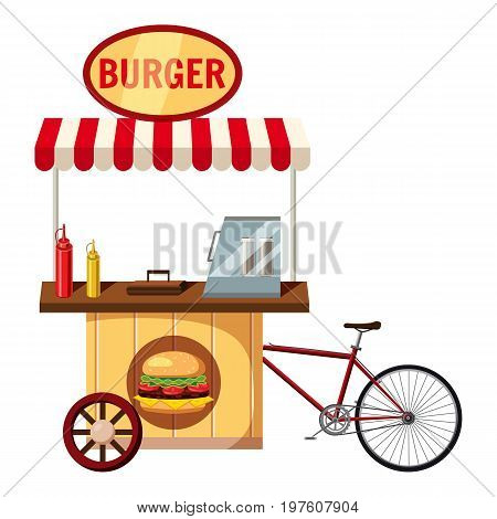 Bicycle burger mobile snack icon. cartoon illustration of bicycle burger mobile snack vector icon for web