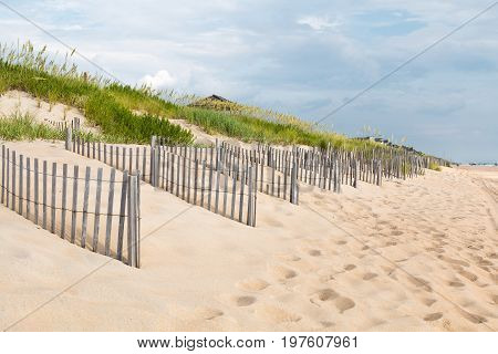 Rows of sand fences line the beach in Nags Head, North Carolina on the Outer Banks.