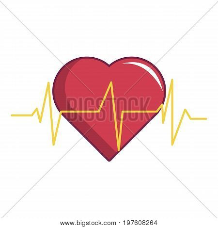 Heart beat icon. Cartoon illustration of heart beat vector icon for web design