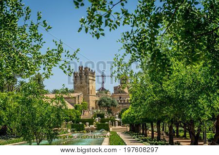 The Alcazar De Los Reyes Cristianos View From The Jardines, Cordoba, Spain, Europe