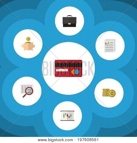 Flat Icon Gain Set Of Money Box, Diagram, Payment And Other Vector Objects