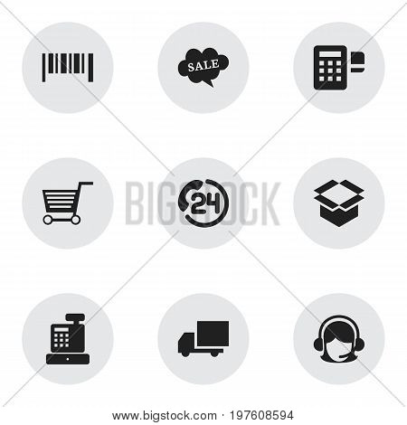 Set Of 9 Editable Business Icons. Includes Symbols Such As Backing Call, Package, Pushcart And More