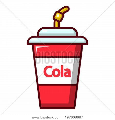 Cola plastic glass icon. Cartoon illustration of cola plastic glass vector icon for web design