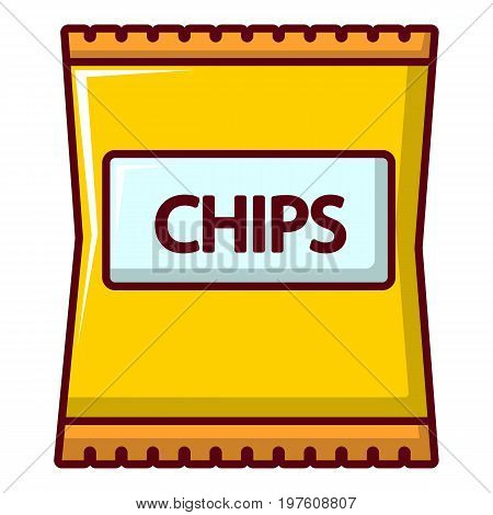 Yellow pouch of potato chips icon. Cartoon illustration of yellow pouch of potato chips vector icon for web design