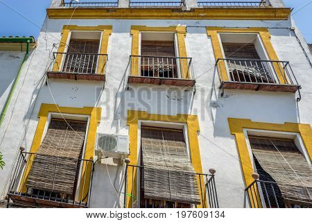 Cordoba, Spain - June 20 : The Balcony Of A House Shaded By A Straw Mat In Cordoba On June 20, 2017.