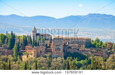 View of the Alhambra from the Albayzin,  Granada, Andalusia, Spain.