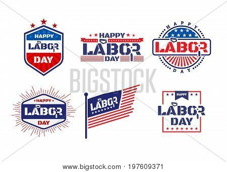 Happy Labor Day.america Labor Day For Greeting Card.typography Labor Day Labels Or Badges Design.lab