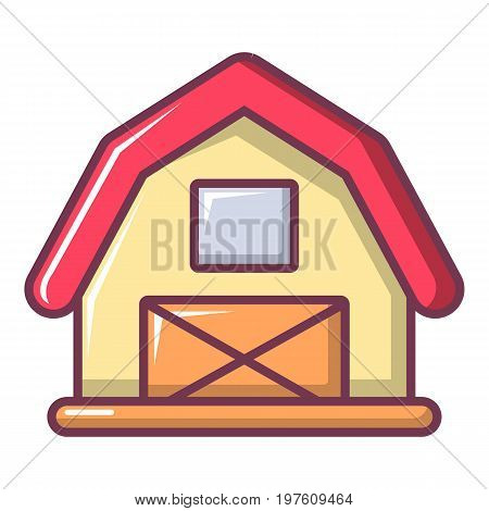 Red horse barn icon. Cartoon illustration of red horse barn vector icon for web design