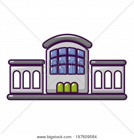 Railway station icon. Cartoon illustration of railway station vector icon for web design