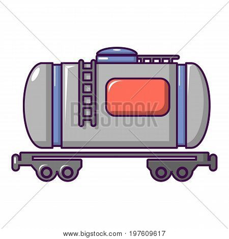 Gasoline railroad tanker icon. Cartoon illustration of gasoline railroad tanker vector icon for web design