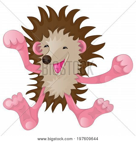 Cartoon characters cheerful cute funny hedgehog rejoices and exults