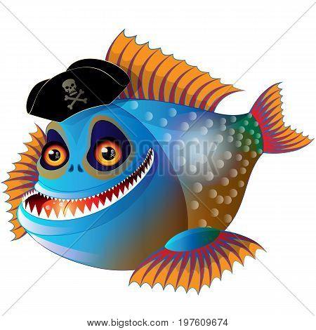 Cartoon funny piranha in pirate cap with bone and skull