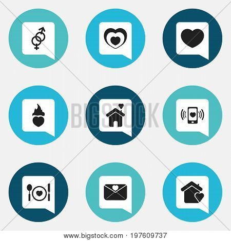 Set Of 9 Editable Love Icons. Includes Symbols Such As House, Smartphone, Affection Letter And More