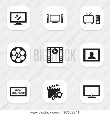 Set Of 9 Editable Movie Icons. Includes Symbols Such As Play Video, Theater Agency, Clapperboard And More