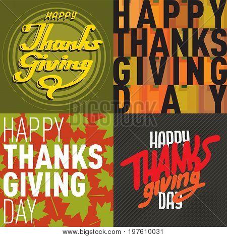 Vector thanksgiving decoration lettering postcard invitation cards design harvest november background illustration. Printable brochure autumn seasonal holiday greeting
