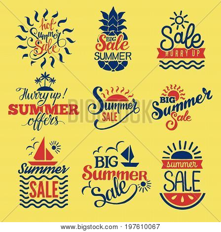 Summer sale logo clearance element vector badges isolated. Some shopping big mega hand drawn collection of labels.